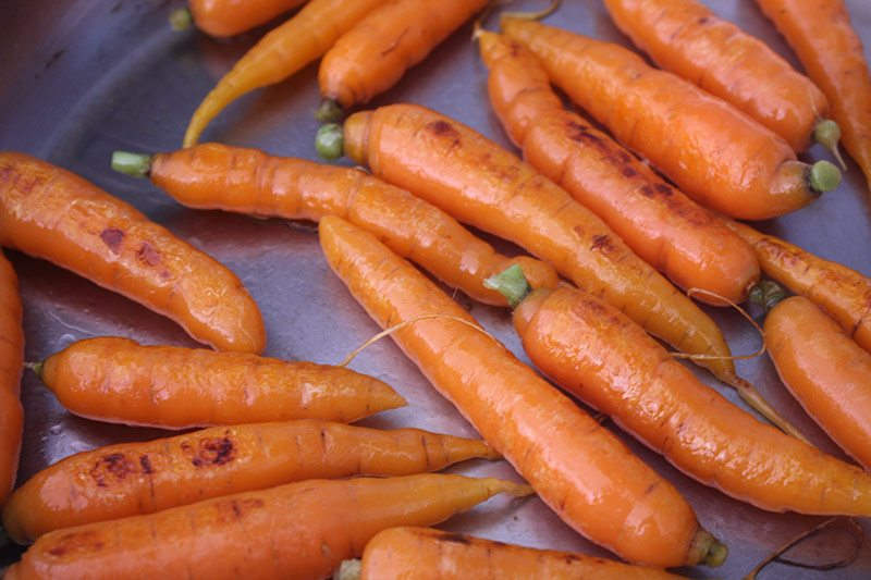 Sear carrots in olive oil