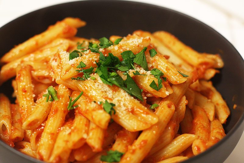 Penne with oven-dried cherry tomato sauce