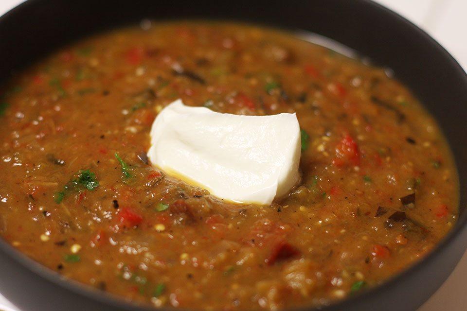 Fire-roasted eggplant & tomato soup