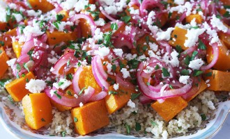 Butternut squash, bulghur and feta salad with pickled onion dressing recipe