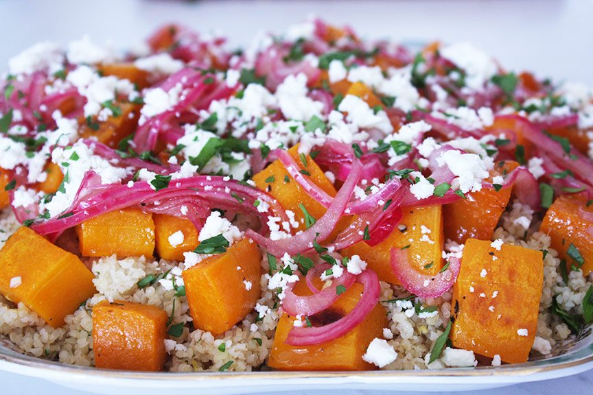 Butternut squash, bulghur and feta salad with pickled onion dressing recipe