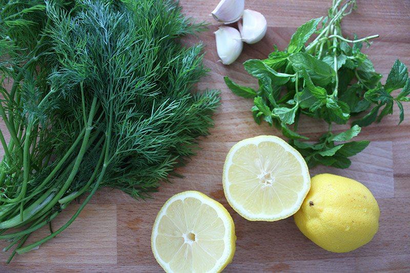 Mint, lemon, garlic and dill for pasta salad vinaigrette