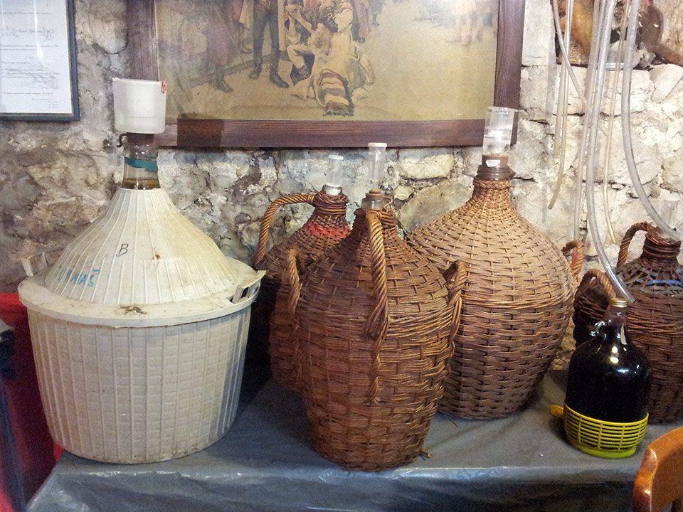 Jugs of homemade Croatian rakija