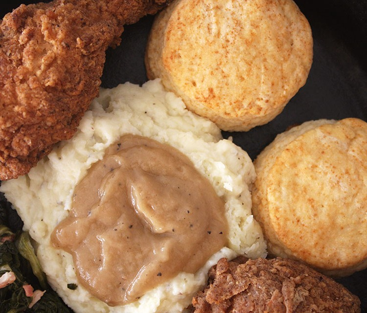 Texas biscuits and roasted chicken gravy